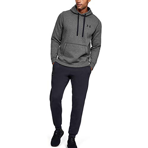 Under Armour Rival Fitted Pull Over Sudadera con Capucha, Hombre, Gris Carbon Heather/Black 090, M