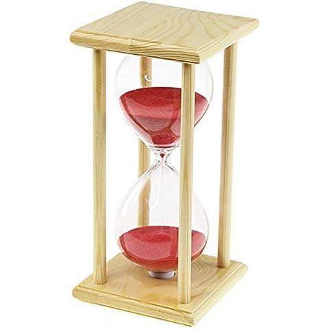 Nuovo soffiato a mano elegante, con supporto in legno, a clessidra, 60 minuti, colore: sabbia con Timer di 1 ora, per la casa, per Natale, regalo di compleanno rosa
