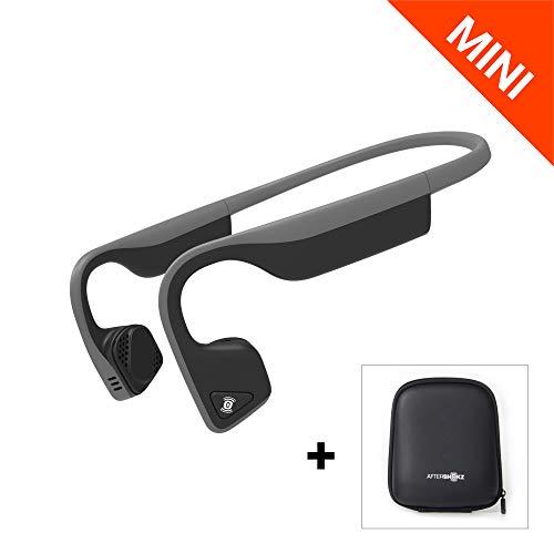 AfterShokz Trekz Titanium Mini - Écouteurs à Conduction Osseuse avec Micro(Oreilles Libres/Open Ear), Casque Bluetooth sans Fil avec Étui de Transport,Arceau Réduit pour Petits Gabarits, Gris