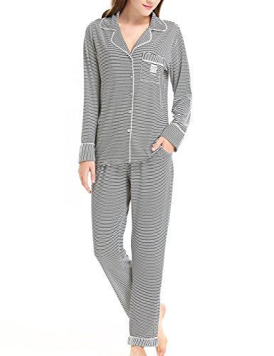 Damen Pyjama langarm Schlafanzug(Schwarz gestreift,M)
