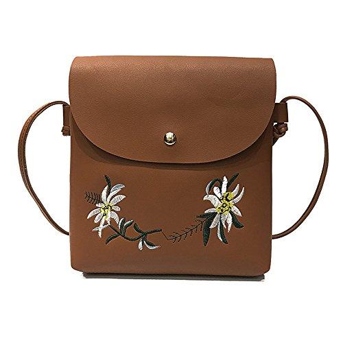 Tasche Bags Loveso Damen Mode Niedlich Blumenmuster PU Leder Mini Messenger Taschen Stickerei Crossbody Schultertaschen Handtasche Kleine Body Bags (Braun)