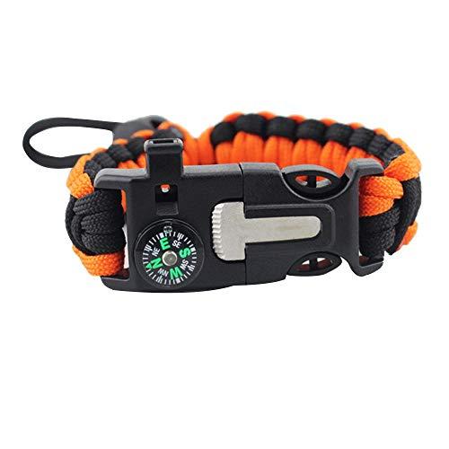 Notfall-licht-kit (Tragbares Gerät Survival Bracelet Survival Gear Kit mit Kompass SOS LED-Licht-Notfall-Feuer-Starter-Pfeife zum Wandern von Camping-Outdoor-Aktivitäten im Freien Sowohl Männer als auch Frauen können mi)