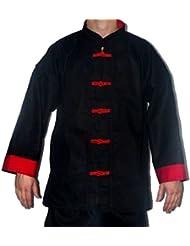 Veste noire avec parement et boutons brandebourg coton