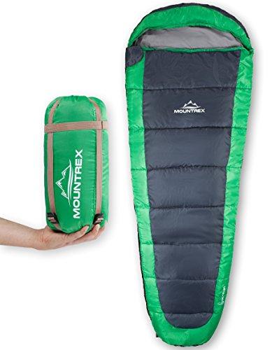 MOUNTREX Sacco a pelo - ultraleggero e compatto (850g) | Sacco a pelo estivo all\'aperto - Sacco a pelo mummia (205x75cm) | Small Pack Size | Cuscino da viaggio GRATUITO