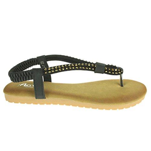 Frau Damen Diamante Zehenpfosten Slingback Sommer Strand Beiläufige Party Komfort Flache Sandale Schuhe Größe Schwarz