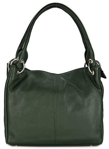 Belli ital. Leder Schultertasche Damentasche Handtasche Shopper Lilly in grün - 33x28x14 cm (B x H x T) - Grün Leder-clutch