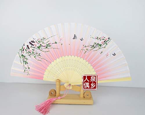 Powzz ornament Skulpturen Deko Japanische Damenhandwerkseidenfächer Und Kirschblütenfächer Tanzen Leistung Tanzfächer, Lotus Root Color 21 (Fan Feeder) - Root Feeder