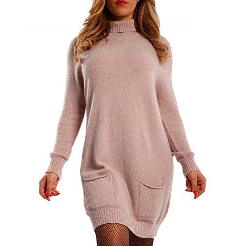 Damen Oversize Strickkleid Long Pullover mit Rollkragen (One Size, Himbeerrot)