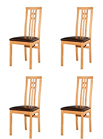Dining Chair 2/4/6 Solid Wood Honey Oak Leather Fabric Seat - Made In Malaysia (4, Cambridge)