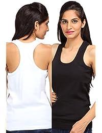 ALBATROZ Cotton T Back Ladies Plain Spaghetti Tank Top Vest Camisole Sando for Women Combo of 2 Black and White