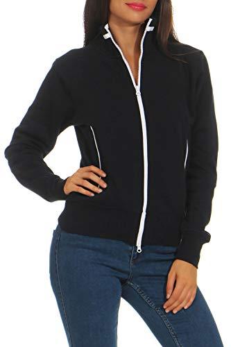 Happy Clothing Damen Sweatjacke mit Reißverschluss und Kragen ohne Kapuze im sportlichen Design, Elegante Jacke aus Baumwolle für Sport und Freizeit, Größe:L, Farbe:Dunkelblau