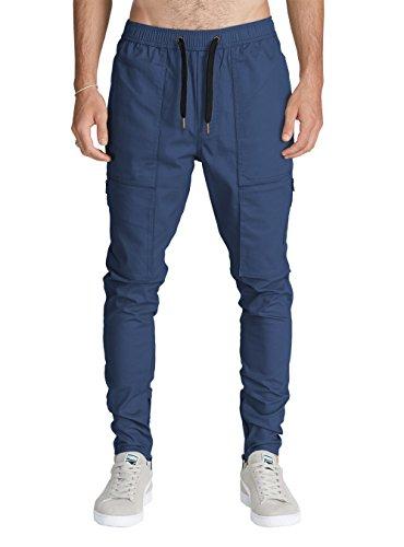 Italy Morn Uomo Chino Cargo Casual Pantaloni Harem Jogging Basso Sportivi Cotone Slim Fit M Blu