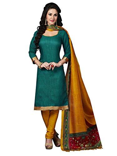 Applecreation Women's Silk Dress Material (3008_Green)
