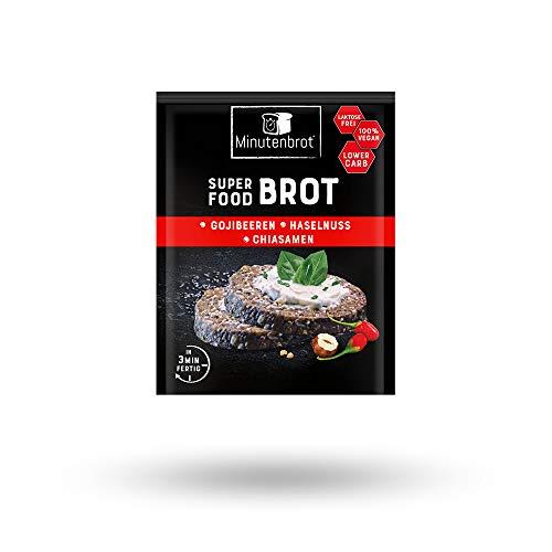 risches Brot in 3 Minuten - Eiweißbrot (18% Protein), LowCarb Brot, vegan, laktosefrei, Superfood Brot - Brotbackmischung - 13er Pack á 80g - Gojibeeren | Chiasamen | Haselnüsse ()