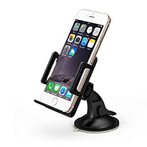 TaoTronics® TT-SH02 Universal Windshield & Dashboard Car Mount Cradle Holder for iPhone 5S, Galaxy S5, Note 3 & Other Mobile Phones of With 50mm - 100mm, 360 Degree Rotation