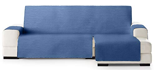 JM Textil Copridivano Salvadivano Chaise Longue Elena, Protezione Imbottita per divani Bracciolo Destro. Dimensione -240cm. Colore Blu 03 (Visto di Fronte)