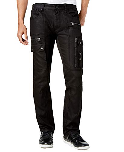 INC International Concepts I.N.C. Men's Slim-Fit Stretch Black Cargo Jeans, Created for Macy's