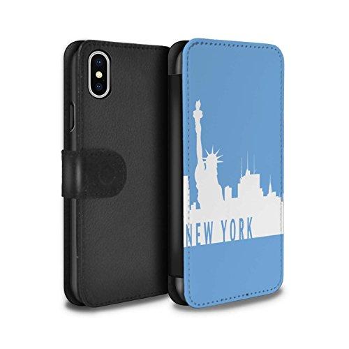 Stuff4 Coque/Etui/Housse Cuir PU Case/Cover pour Apple iPhone X/10 / Paris/Turquoise Design / Toits de la Ville Collection New York/Bleu