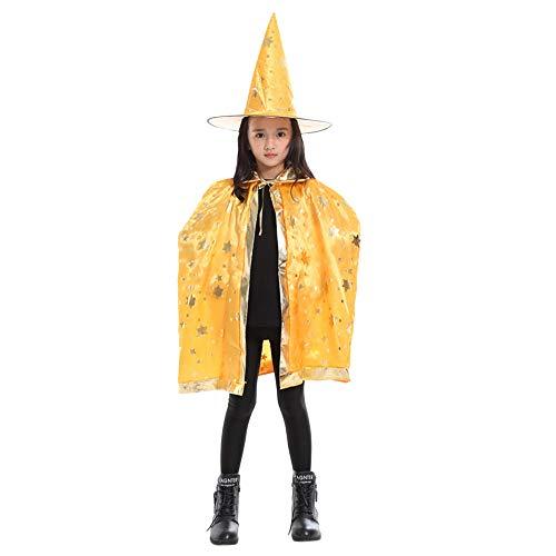 Zolimx Hexenhexe Umhang Halloween-Umhang kostüm + Hutsatz Kinder Erwachsene Kinder Baby Kostüm Zauberer Mantel Cape Robe + Hat Set (Gelb) (Capes Und Roben)