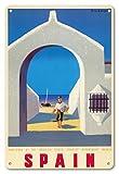 Pacifica Island Art 8x12 estaño Muestra de la Vendimia-Madrid, España-Departamento de Turismo Español Estado-Barco Y Pescador por Guy Georget