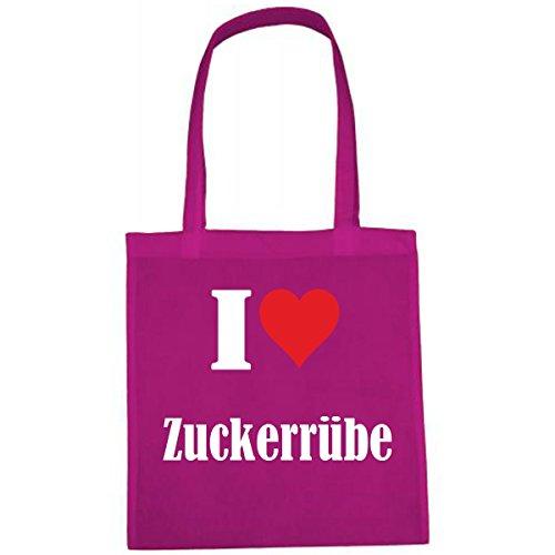 Tasche I Love Zuckerrübe Größe 38x42 Farbe Pink Druck Weiss