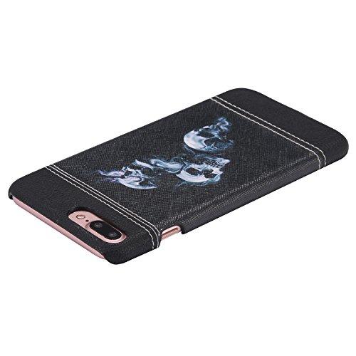 iPhone 7 Plus Hülle,iPhone 7 Plus Case,Felfy Stoßfest Hülle PC Plastic Harte Rüstung Anti-Shock Case Ultra Dünn Farbmuster Schutz Bumper Tasche Schale Etui Hülle Hard Case für Apple iPhone 7 Plus 5.5  Schädel