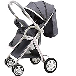 Yhz@ High Landscape Baby Stroller Handle Reversible Infants Buggy se Puede sentar y tumbarse DownUltralight Portable Foldable Child Cart Sillas de Paseo (Color : Gray)