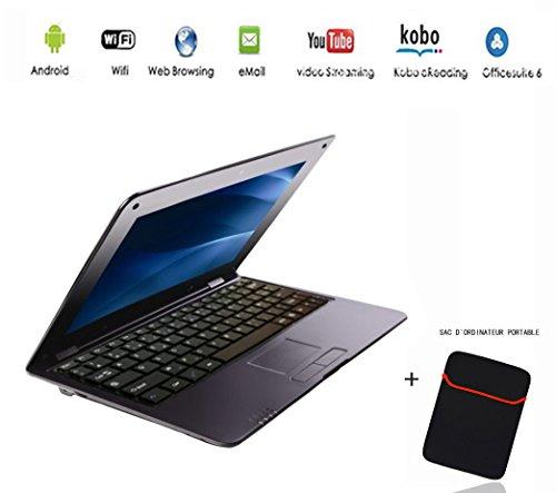 G-Anica® Netbook ordinateur portable Ultrabook Android 4.4, écran 10.3 pouces, (HDMI, Wifi, Ethernet, 1.5GHz 512Mo + 4GO), Il est livré avec un Sac d'ordinateur portable (Noir)