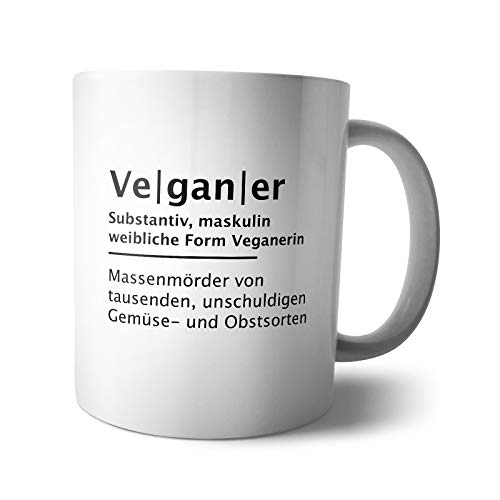 Kaffee-Becher - Tasse Vegan | Tiere Vegetarier Gorilla Dad Mom Papa Mama Definition Büro Mann Frau lebenslang, Verpackung:Ohne Box, Design:Design 6