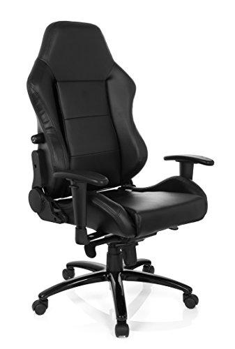 hjh OFFICE 729080 Gaming PC Stuhl INDY II Lederimitat schwarz, feste Polsterung, ideal zum Zocken, Chefsessel, verstellbare Armlehnen, Racing Stuhl, XXL Chefsessel, Gamer Stuhl