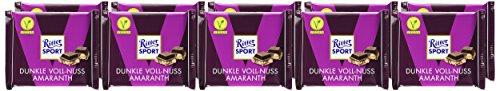 RITTER SPORT Dunkle Voll-Nuss Amaranth (10 x 100 g), Vegane Schokolade, mit ganzen Haselnüssen und Amaranth verfeinert, Halbbitterschokolade - 2