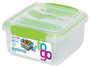 Sistema 25652 Lunch Plus To Go, 1,2 L und Besteck, grün