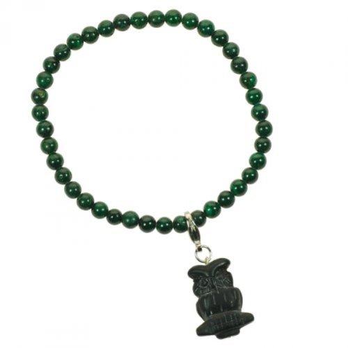 Edelstein Armband - Malachit mit Charm aus schwarzem Onyx, clever Owl