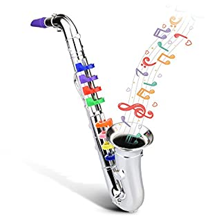 Abco Tech Children's Clarinet for Beginners – Toy Musical Instrument for Kids with 8 Color Coded Keys – Lead Free & BPA Free (Saxophone)