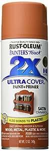 Rust-Oleum 249084 Painter's Touch Acrylic Spray Paint for Plastic, Metal, Wood (Satin Cinnamon - 340 Grams)