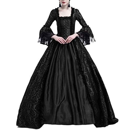 Damen Langarm Renaissance Mittelalter Kleid Viktorianischen Königin Kostüm Maxikleid Schwarz M