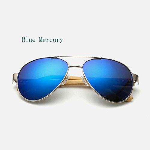 kerrone (TM) 2016Pilot legno occhiali da sole uomo donna marca a specchio occhiali da sole UV400Oro Guida sportiva originale Bambù Sunglases maschio, Blue Mercury