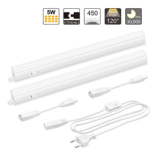 Conectable Lamparas de Pared LED Lamparas Tubo LED T5 5W para Armario de Cocina Iluminacion Blanco Neutro 4200K Longitud de lampara 342MM, Lot de 2 Lamparas de Enuotek