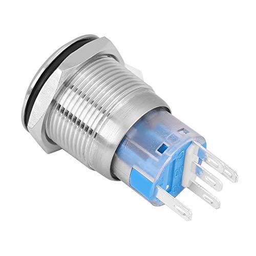 Démarreur d'Allumage, Keenso Interrupteur Commutateur Démarrage de Moteur Bouton-Poussoir 12V LED 19mm(Silver)
