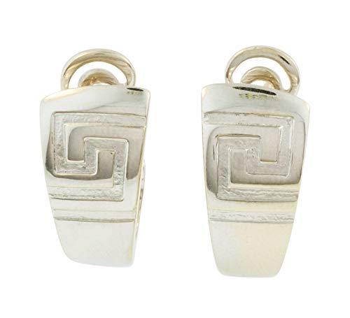 Versace Kreolen 18 Karat Weißgold griechischer Schlüssel Omega-Rücken 30 mm Länge