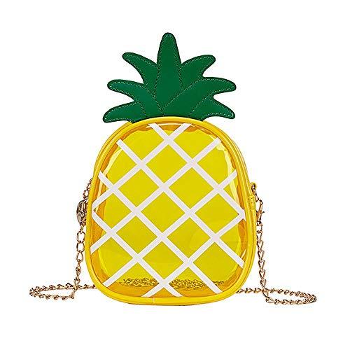 FOONEE Transparente Ananas-Tasche, Mini-Schultertasche aus PVC, Kette mit Reißverschluss, Handtaschen im Obststil für Damen und Mädchen