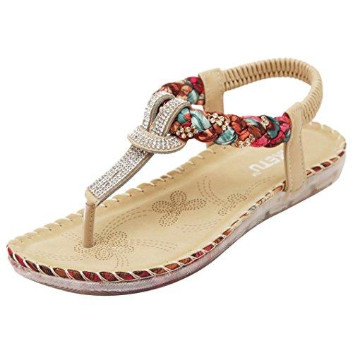 Sandalias Mujeres Bohe Rhinestone Moda Plano Talla grande Bohemia Sandalias casuales Zapatos de playa LMMVP (41(CN), Rojo)