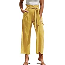 Huazi2 Women Solid Belt High Waisted Loose Wide Leg Pants Yoga Long Trousers Yellow