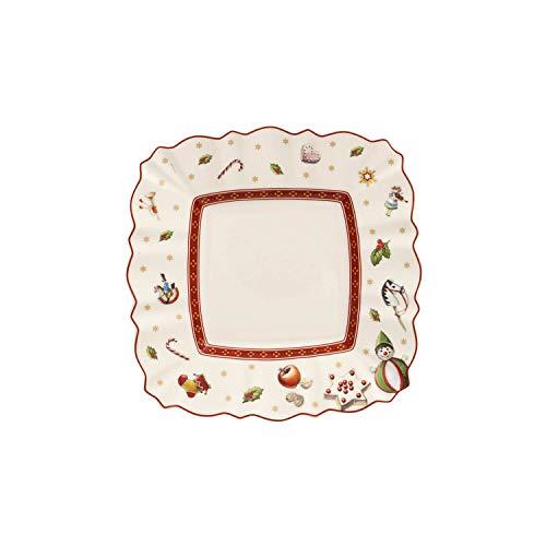 Villeroy & Boch 14-8585-2669 Plato para Pan Rectangular Toy's Delight, para Navidad, 17 x 17 cm, Porcelana, 18.5x18.5x9.0 cm