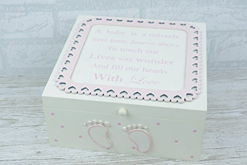 Ex groß Memory Box Holz rosa Baby is born ein Wunder Taufe Geschenk F1718A