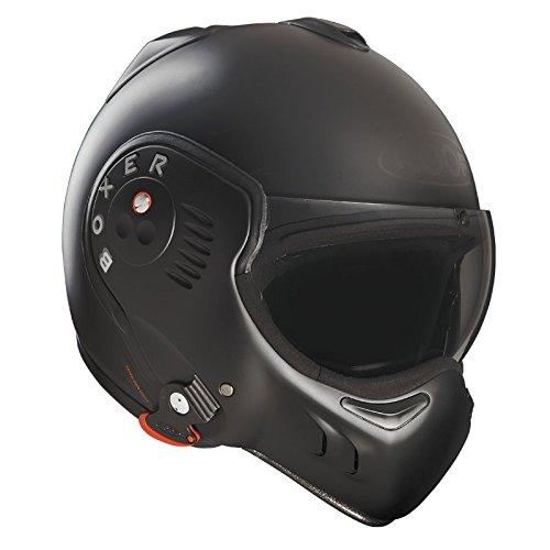 Roof Boxer V8 Full Black Flip Front Motorcycle Helmet SM Matt Black