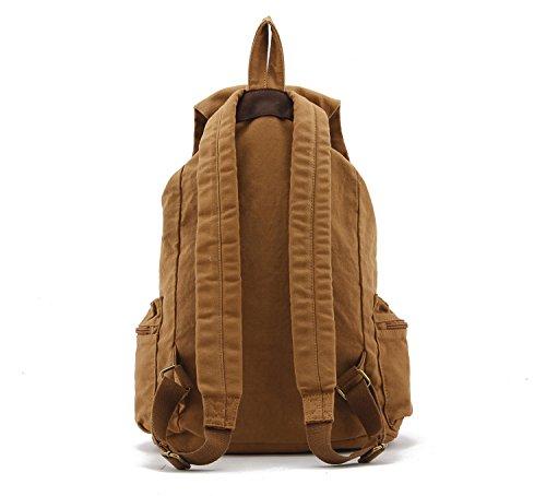 Herren Damen Vintage-Rucksack Canvas Rucksack Schultasche Schultasche Tasche Wandern Daypacks Snowboard-Rucksäcke (Green) gelb