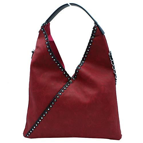 MISEMIYA - Borsa a Mano Donna Pochette e Clutch Borse a mano e a spalla mano borsa SR-A9521(42 * 50 * 1cm) - Rosso