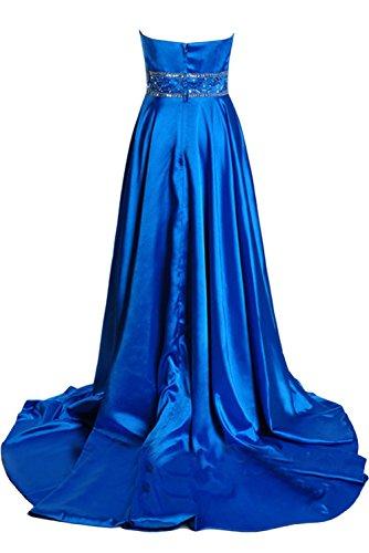 Gorgeous Bride Modisch Empire Träger Hi-Lo Schleppe Satin Abendkleider Lang Cocktailkleider Ballkleider Blau