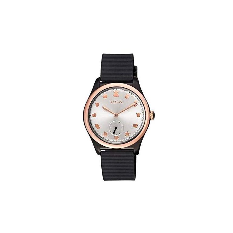 Reloj-Tous-900350085-Free-Fresh-de-Acero-IP-Rosado-y-policarbonato-con-Correa-de-Silicona-Negra